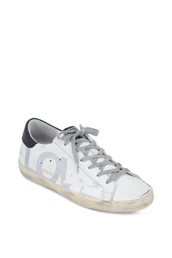 Golden Goose Superstar White With Sliver Glitter LOVE Sneaker