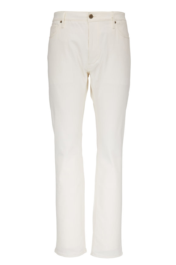Atelier Munro Off White Slim Five Pocket Pant