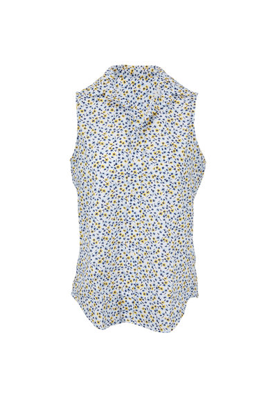 Frank & Eileen - Fiona Blue & Yellow Flowers Chambray Button Down