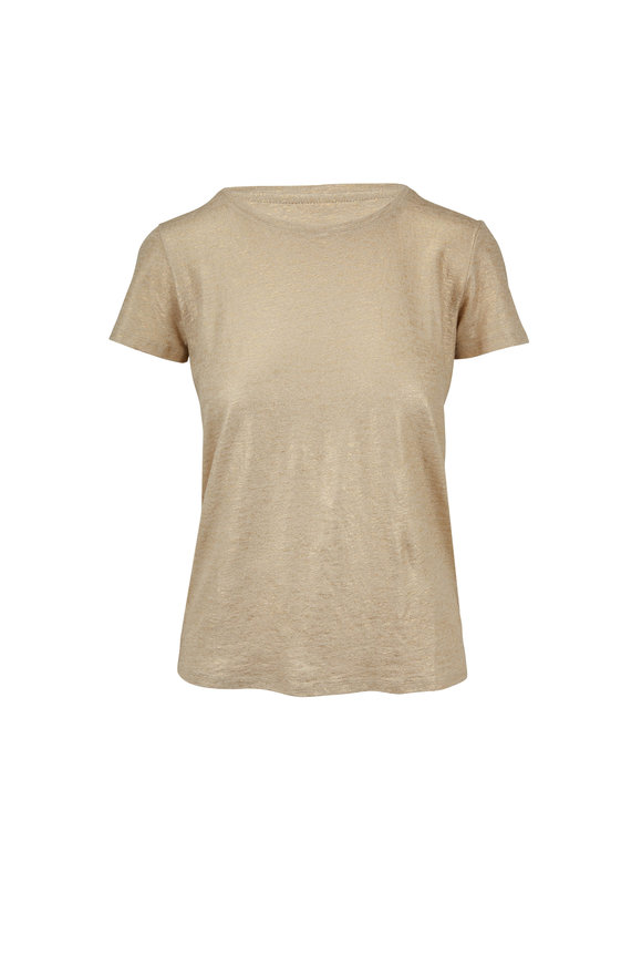 Majestic Gold Metallic Stretch Linen Deluxe T-Shirt