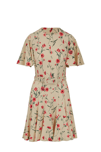 Michael Kors Collection - Nude & Rosewood Floral Cady Dance Dress