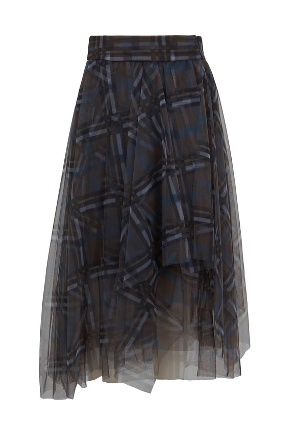 Brunello Cucinelli Lagoon Tulle Plaid Pleated Skirt