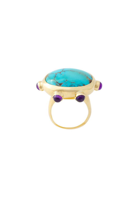 Haute Victoire 18K Yellow Gold Persian Turquoise Ring