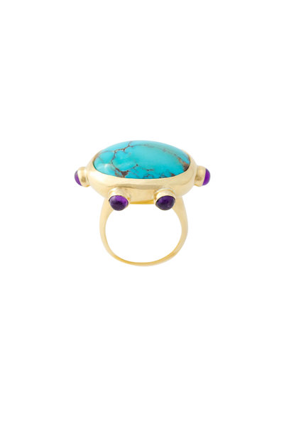 Haute Victoire - 18K Yellow Gold Persian Turquoise Ring
