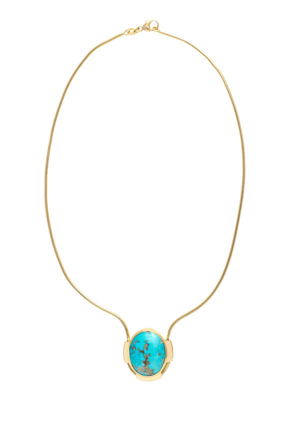 Haute Victoire 18K Yellow Gold Turquoise Pendant Necklace