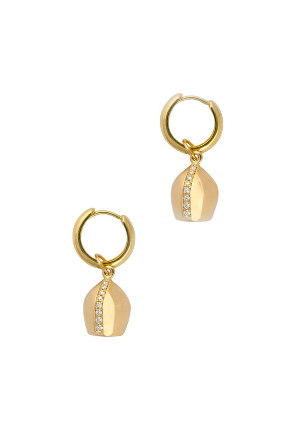 Haute Victoire 18K Yellow Gold Lune Mini Hoop Earrings