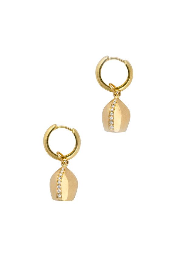 Haute Victoire 18K Yellow Gold Lune Mini Hoop Earrings
