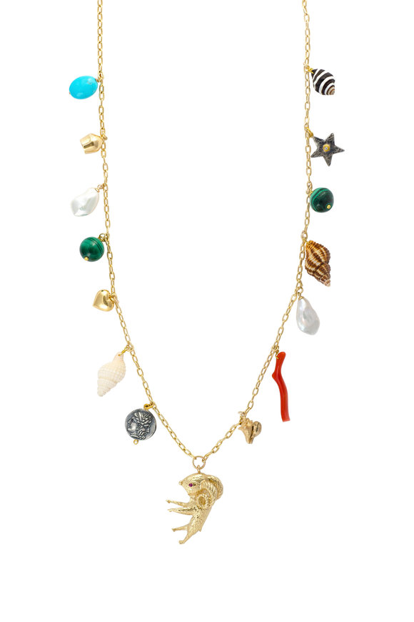 Haute Victoire 18K Yellow Gold Vintage Charm Necklace