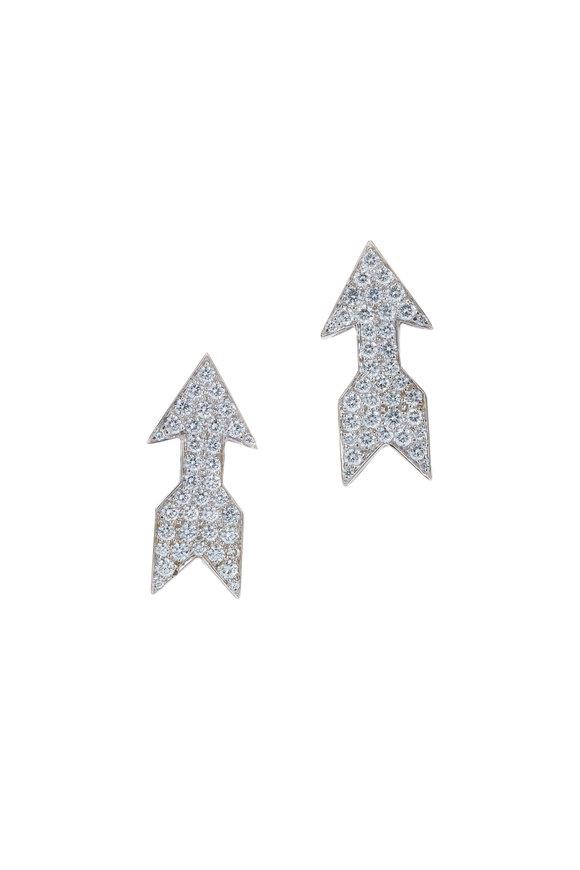 David Webb 18K Platinum Diamond Arrow Earrings