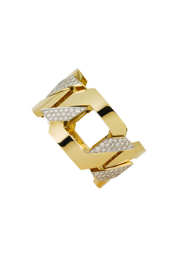 David Webb 18K Gold & Platinum Diamond Bracelet