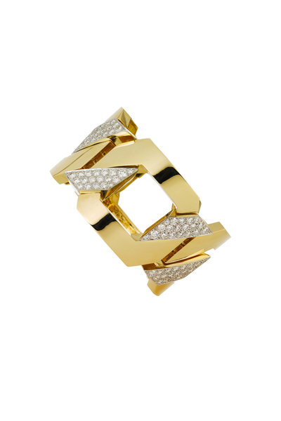 David Webb - 18K Gold & Platinum Diamond Bracelet