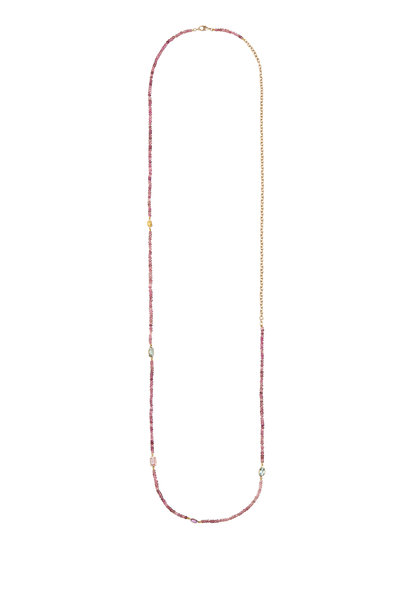 Objet-A - 18K Yellow Gold Bead & Gem Chain Necklace