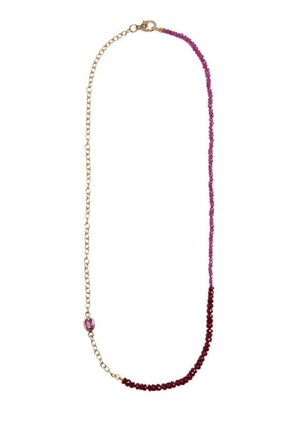 Objet-A 18K Yellow Gold Pink Ruby & Sapphire Necklace