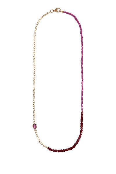 Objet-A - 18K Yellow Gold Pink Ruby & Sapphire Necklace
