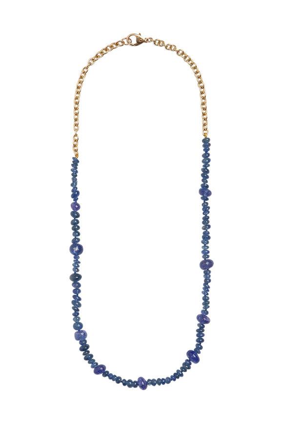 Objet-A 18K Yellow Gold Sapphire & Tanzinite Necklace
