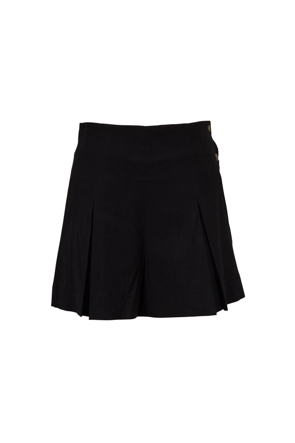 Vince Black Linen Blend Pleated High-Rise Shorts