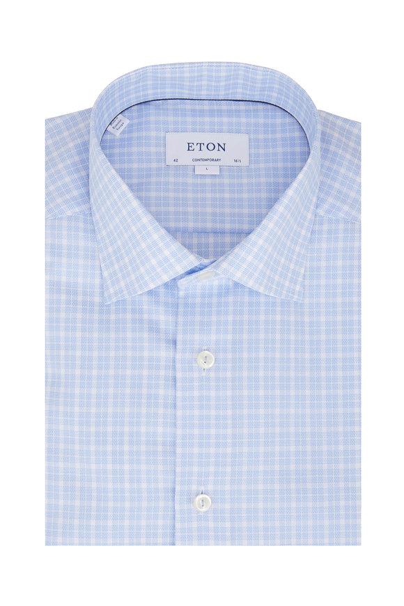 Eton Light Blue Plaid Contemporary Fit Sport Shirt