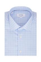 Eton - Light Blue Plaid Contemporary Fit Sport Shirt