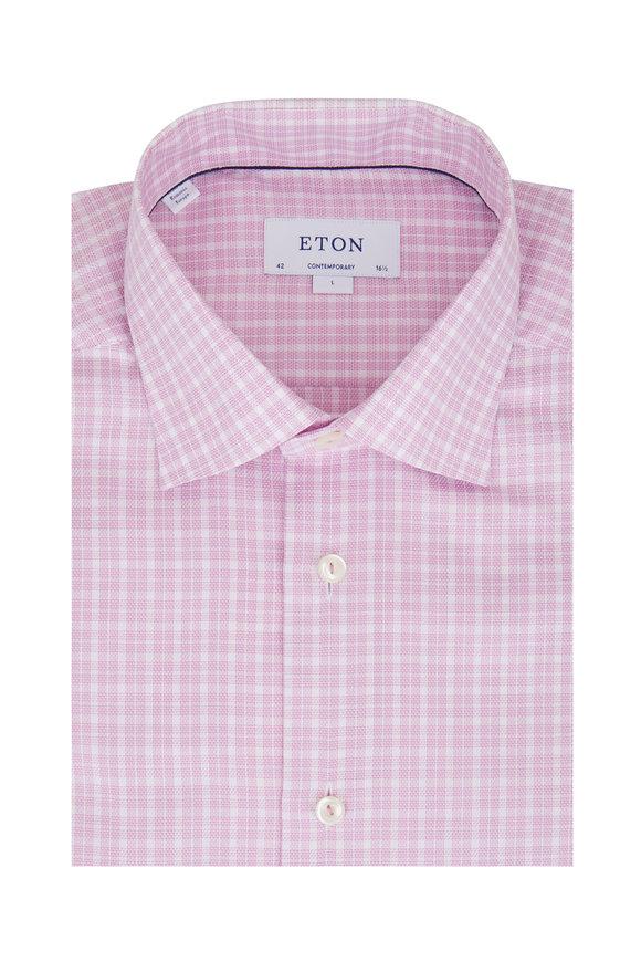 Eton Light Pink Plaid Contemporary Fit Sport Shirt