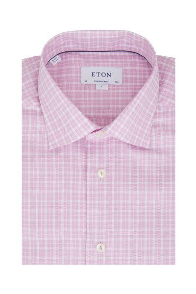 Eton - Light Pink Plaid Contemporary Fit Sport Shirt