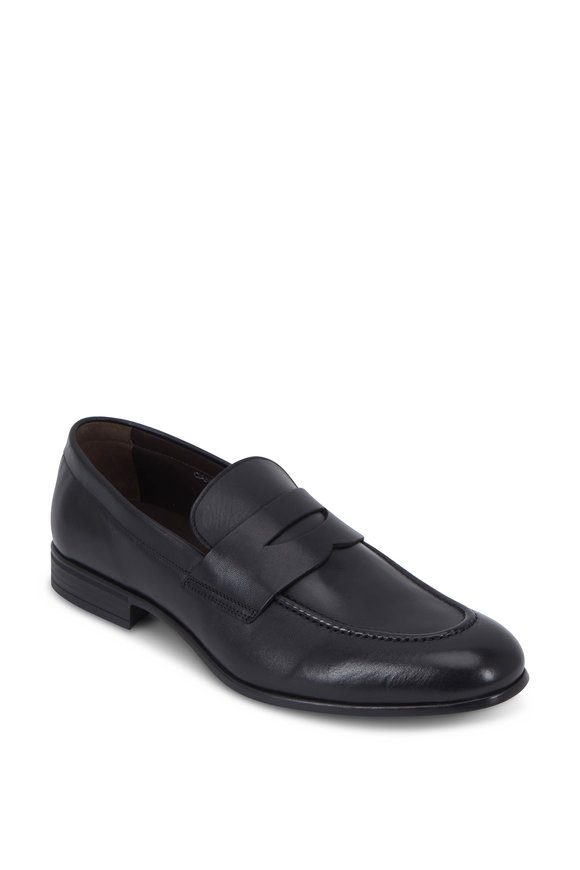 G Brown Cannon Black Leather Penny Loafer