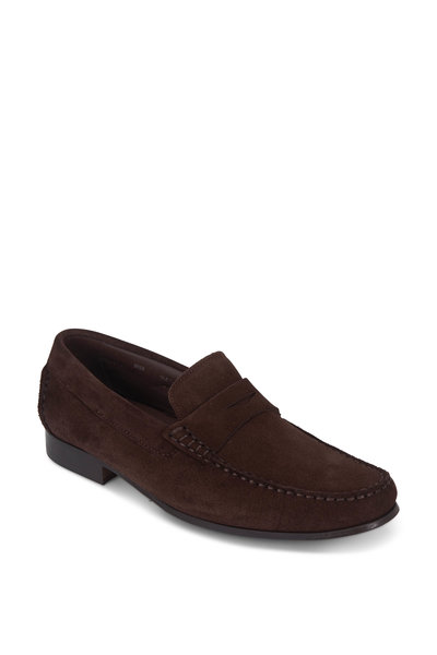 G Brown - Malibu Dark Brown Suede Penny Loafer