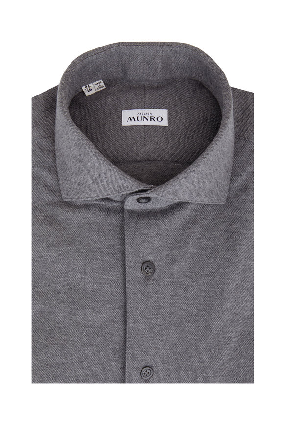 Atelier Munro Medium Gray Piqué Sport Shirt