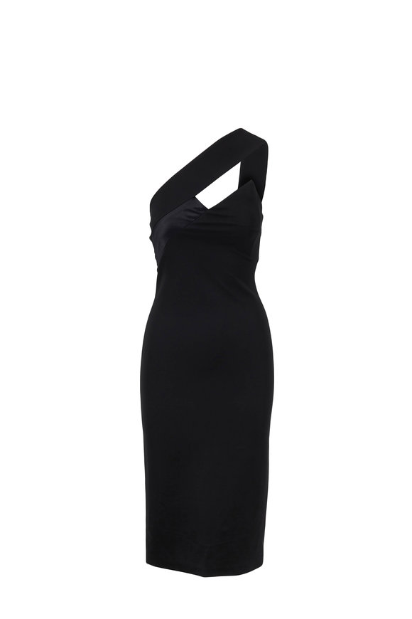 Cushnie Lilia Black One-Shoulder Pencil Dress