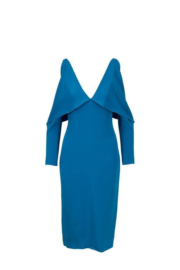 Cushnie Contessa Cerulean Silk Deep V-Neck Pencil Dress