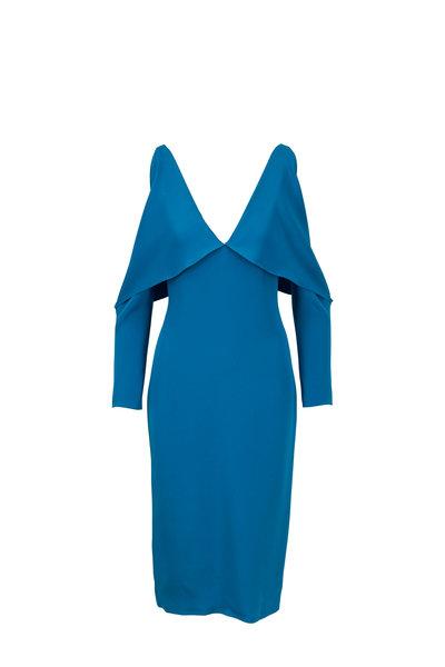 Cushnie - Contessa Cerulean Silk Deep V-Neck Pencil Dress