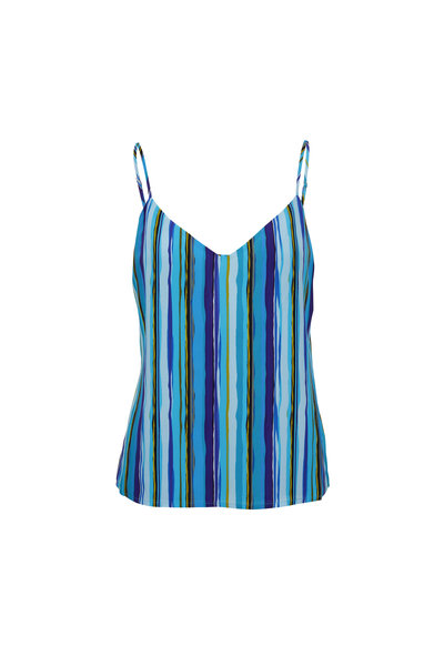 L'Agence - Jane Blue Silk Multi-Striped Cami