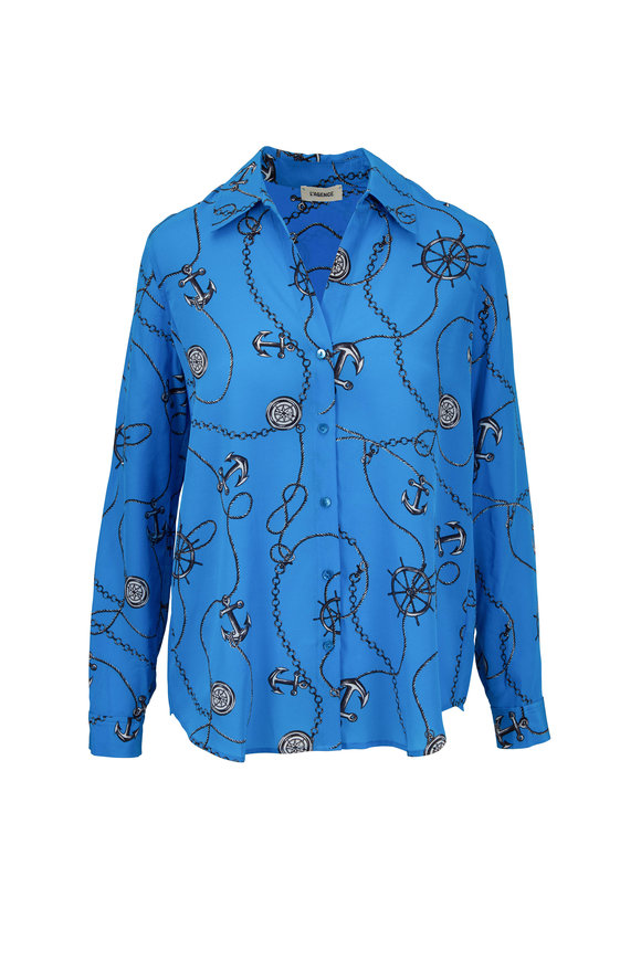 L'Agence Nina Blue Silk Anchor Print Blouse