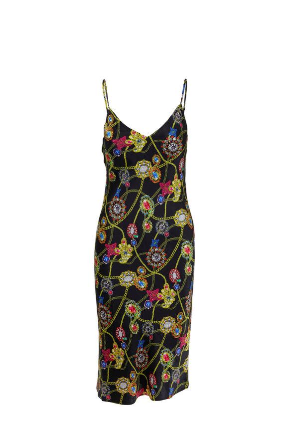 L'Agence Jodie Black Silk Jewel Print Slip Dress