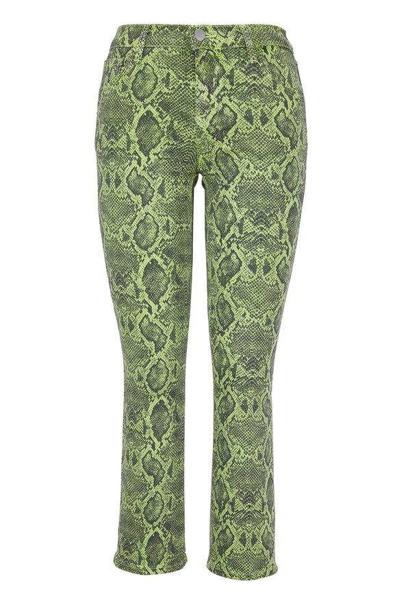 J Brand Selena Lime Boa Mid-Rise Cropped Bootcut Jean