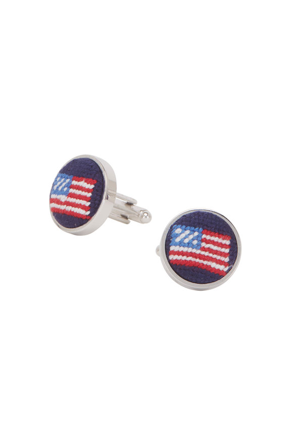 Smathers & Branson American Flag Needlepoint Cuff Links