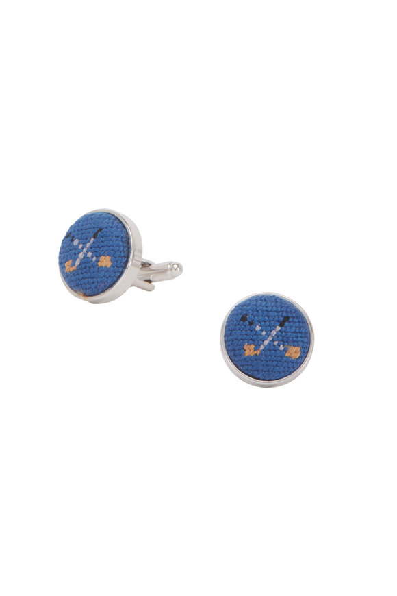 Smathers & Branson Light Blue Golf Clubs Needlepoint Cuff Links