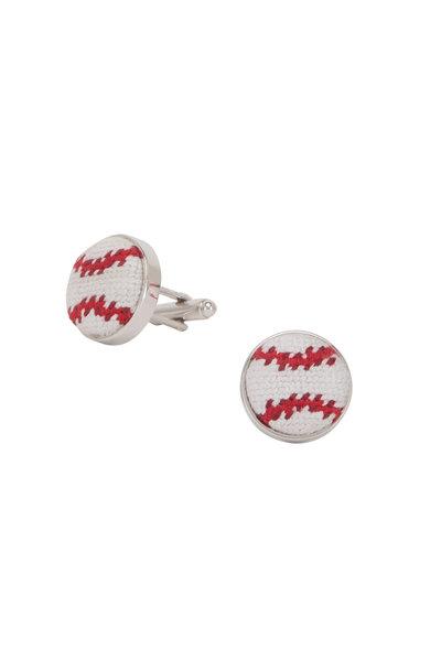 Smathers & Branson - White Needlepoint Baseball Cufflinks