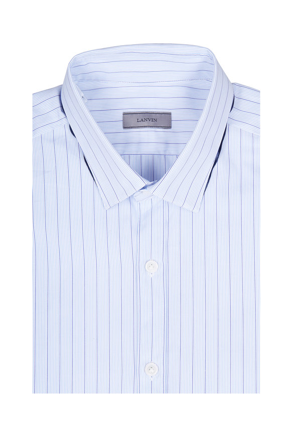Lanvin Light Blue Pinstriped Slim Fit Dress Shirt