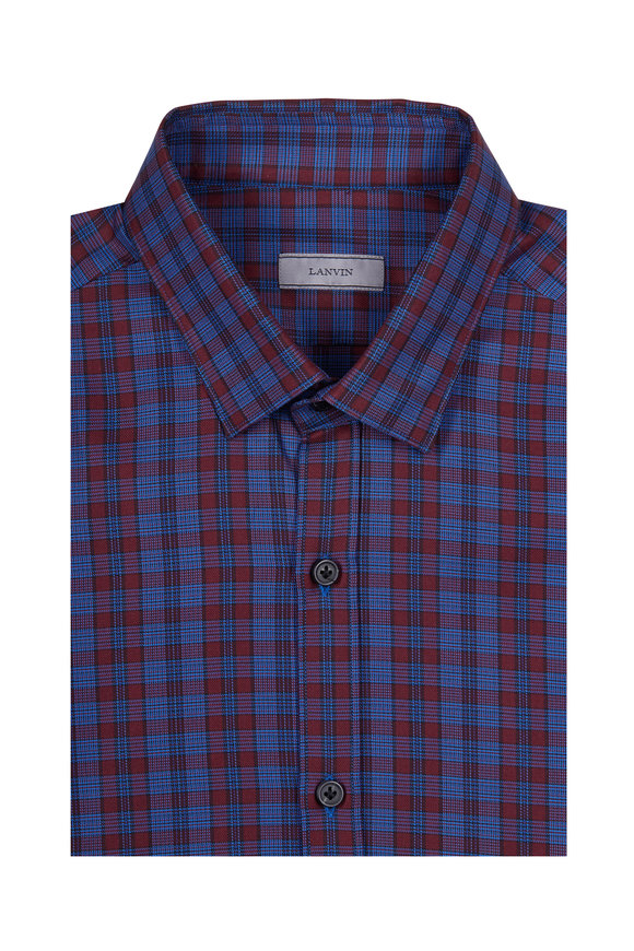 Lanvin Blue & Burgundy Check Sport Shirt