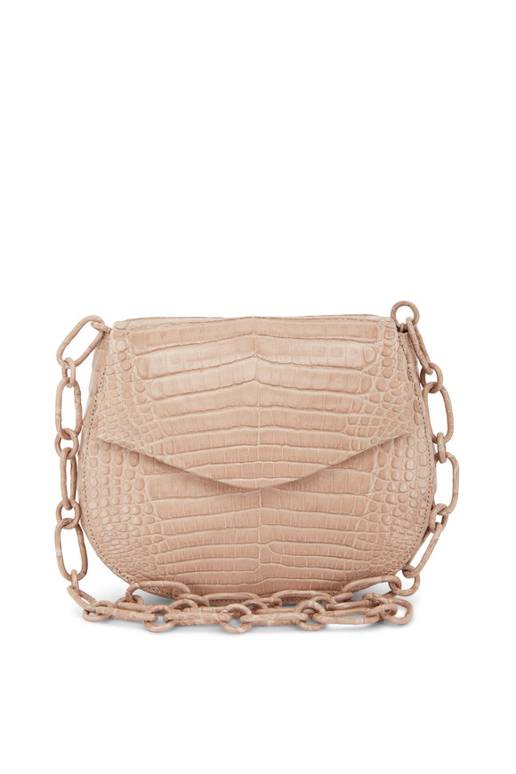 Nancy Gonzalez Taupe Crocodile Chain Convertible Bag