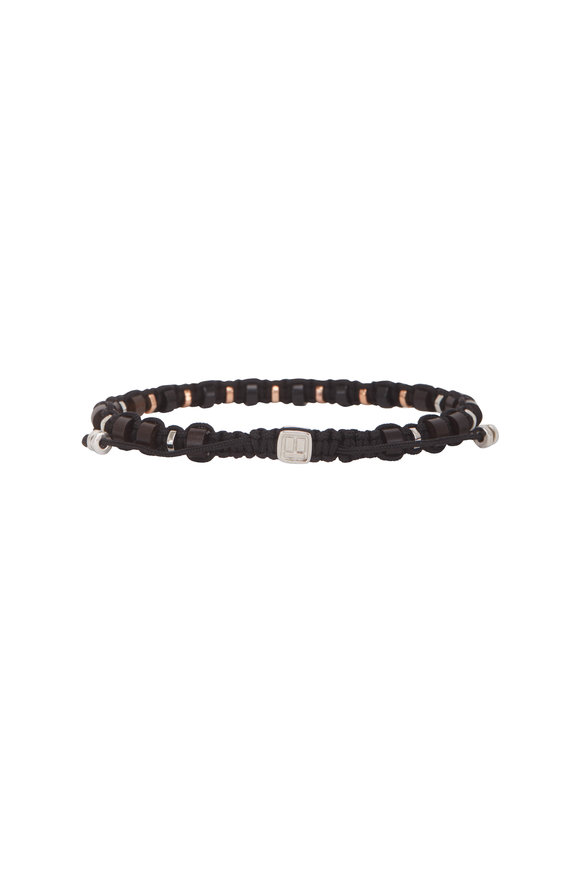 Tateossian Onyx & Ebony Macramé Beaded Bracelet-Medium