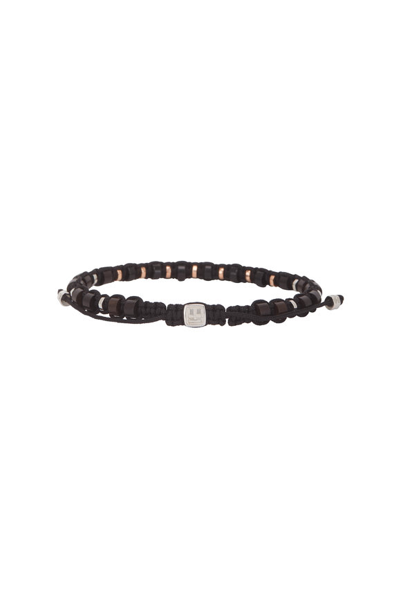 Tateossian Onyx & Ebony Macramé Beaded Bracelet-Large