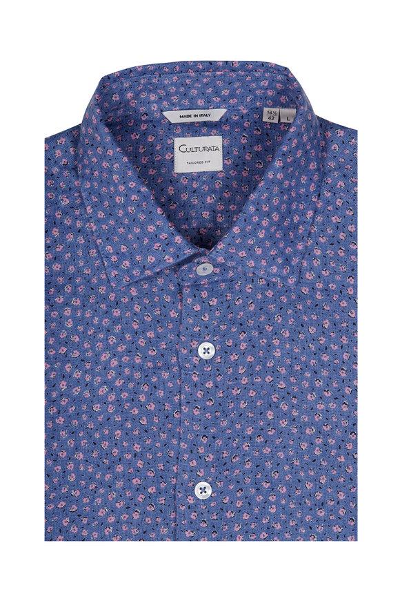 Culturata Blue & Pink Floral Print Sport Shirt