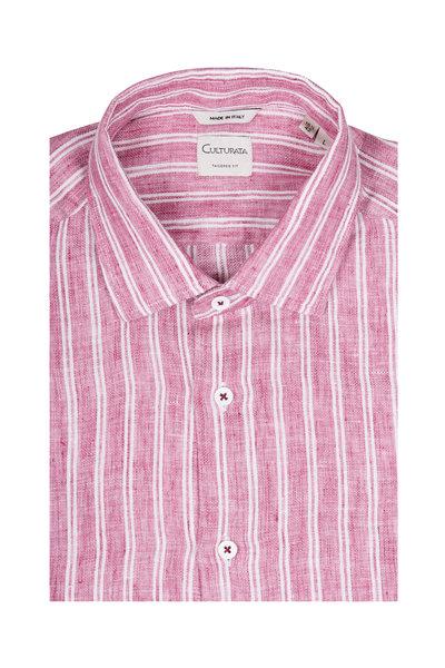 Culturata - Burgundy Linen & Cotton Wide Striped Sport Shirt