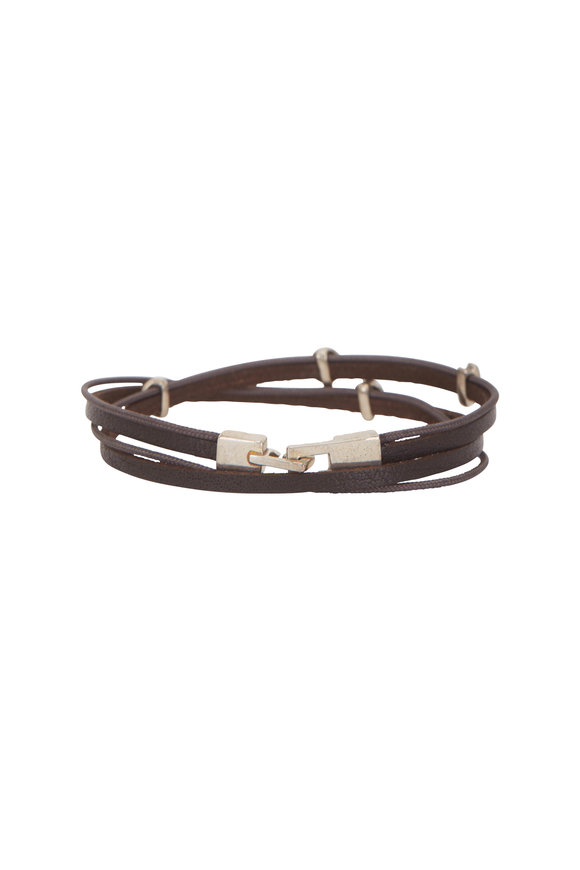 Catherine M. Zadeh Gavriel Brown Leather Double Wrap Bracelet