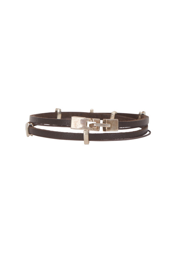 Catherine M. Zadeh Eitan Brown Leather Wrap Bracelet