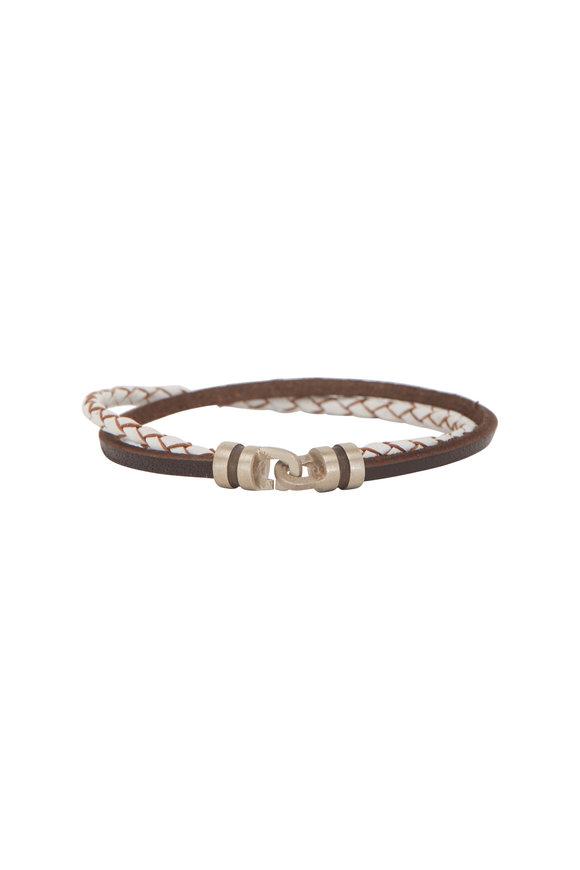 Catherine M. Zadeh Brandyn Brown & White Leather Bracelet