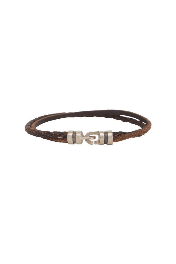 Catherine M. Zadeh Brandyn Brown Leather Double Hook Bracelet