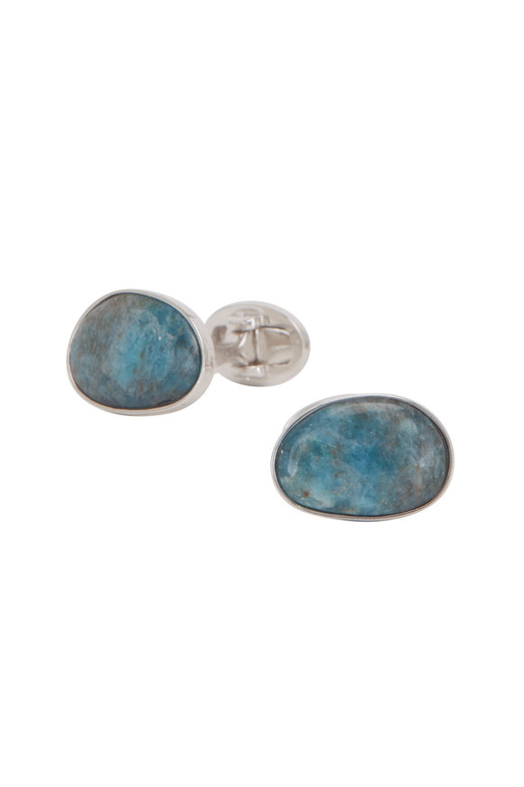 Jan Leslie Blue Sodalite Oval Cuff Links