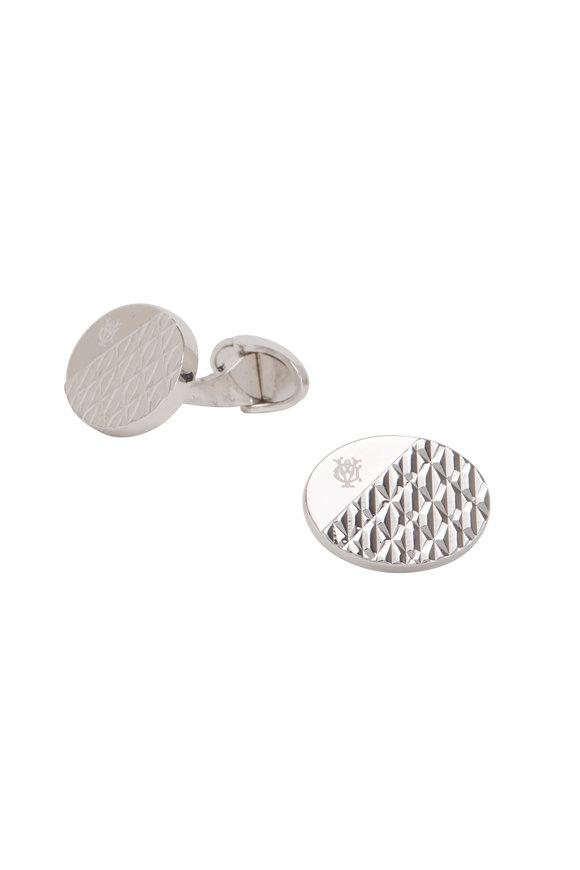 Dunhill Modernist Silver Textured Cuff Links